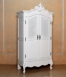 French Chateau Rattan Armoire Wardrobe