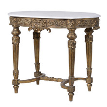 Gold Gilt And White Marble Top Console Table