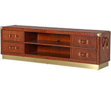 Leather Trunk TV Stand With Gold Details 74""