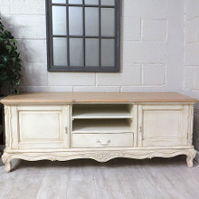 French Chateau French Ivory Low Sideboard TV Unit Parquet Top