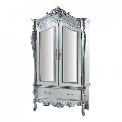 Silver Rococo Armoire Side VIew