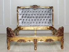 Versailles Tufted Bed, Shown in Gold with Crushed Silver velvet