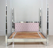 Four Poster Mirrored Bed, Pink Velvet