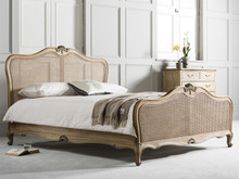 French Weathered Rattan Bed