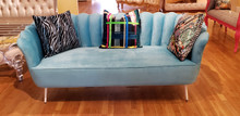 Art Deco Shell Loveseat, Blue