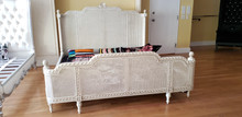 French Country Rattan Bed, Antique Ivory