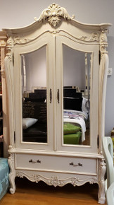 Rococo Armoire, Ivory Distressed