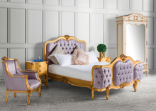 Wing Bed Tufted Bedroom Set, Rose Gold