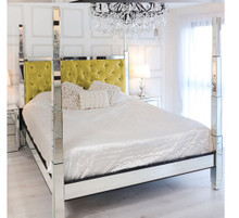 Glam Four Poster Mirrored Bed, Yellow Velvet