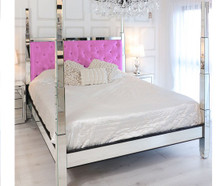 Glam Four Poster Mirrored Bed,  Fuschia Pink Velvet