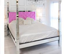 Glam Four Poster Mirrored Bed,  Fuschia Pink Velvet