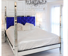 Glam Four Poster Mirrored Bed,  Blue Velvet