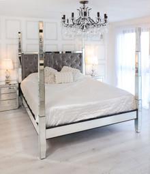 Glam Four Poster Mirrored Bed,  Charcoal Velvet