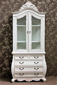 French Bomb Display Cabinet, French Antique White