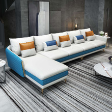 ICARO MANSION SECTIONAL WHITE-BLUE ITALIAN LEATHER