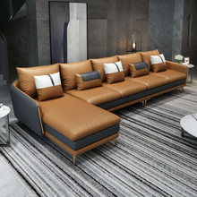ICARO MANSION SECTIONAL COGNAC GRAY ITALIAN LEATHER