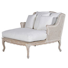 French Royal Grand Rattan Chaise, Cotton