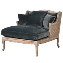 French Royal Grand Rattan Chaise, Charcoal Velvet