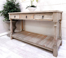 French Reclaimed 3 Drawer Hall Table