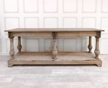 French Reclaimed Long Hall Table with Drawers