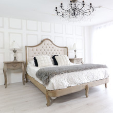 French Reclaimed Tufted Bed
