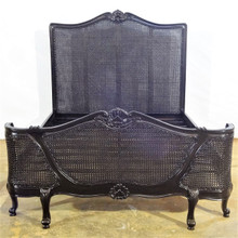 French Chateau Rattan Bed, Black Gloss