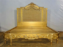 Versailles Rattan Bed, Antique Gold Leaf