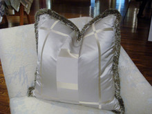 Luxury Throw Pillow, Silk Plaid & Trim