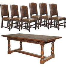 French Country Rustic Dining Table Set with Vintage Leather