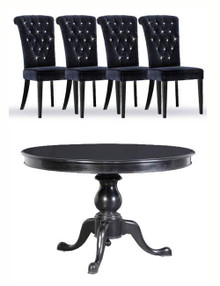 French Pedestal Dining Table & Chairs Set...High Gloss Noir