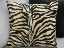 Zebra Print Throw Pillow Cover.....Color Beige/Black