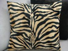 Zebra Print Throw Pillow Cover.....Color Beige/Black