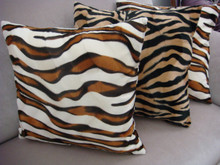 Zebra Print Pillow Cover in Gold/Brown