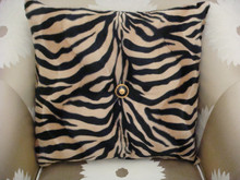 Zebra Print Bling Throw Pillow ....Color Beige/Black,Versace button detail