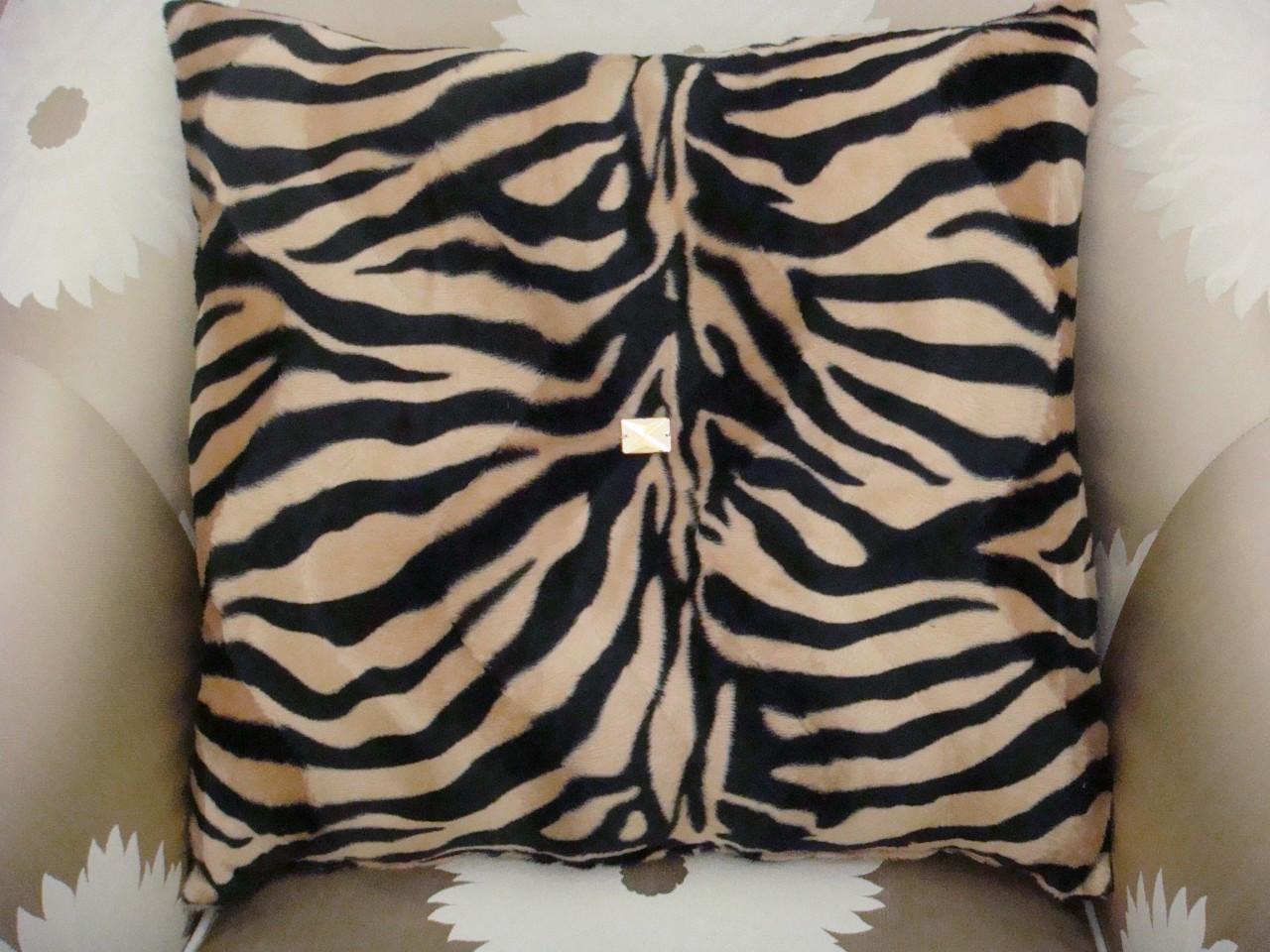 Zebra Print Bling Throw Pillow ....Color Beige/Black