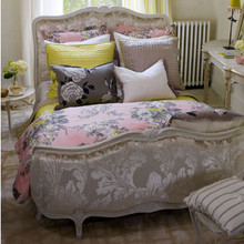 French Country bed with fabric by Designer Guild