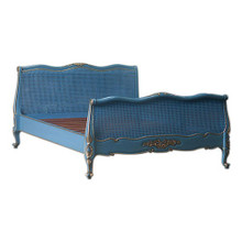 Provence Louis XV Style Rattan Bed, Blue & Gold