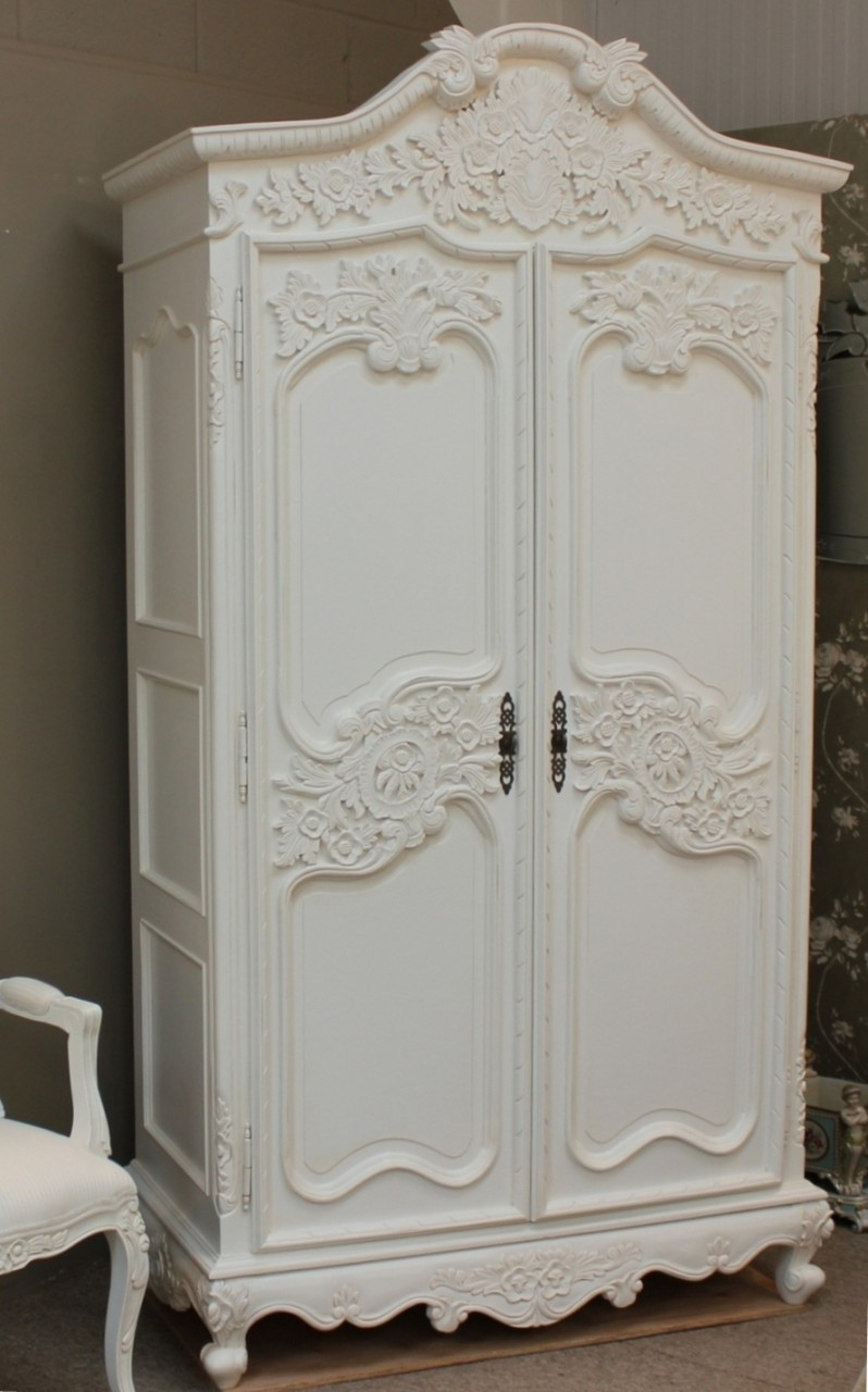 French Armoire, Distressed White Shabby Chic Furniture