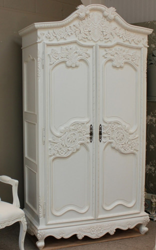 French Armoire Distressed White Shabby Chic Furniture
