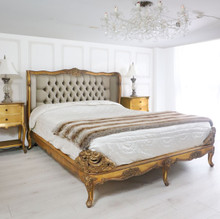 French Upholstered Bed, Shown in Gold