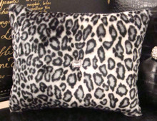 Snow Leopard Bling Throw Pillow, Black & White 15 x 12