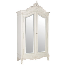 Provencial Armoire Double Mirror Door, Color Distressed White