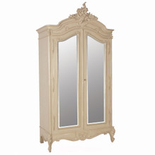 Provencial Armoire Double Mirror Door, Color Pale Stone