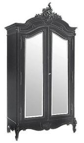 Provencal Armoire Double Mirror Door, Chateau Black