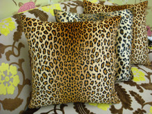 Leopard Print Throw Pillow, Velvet Gold & Brown