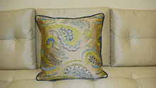 Paisley Throw Pillow, Taupe/Silver Multi 24 x 24