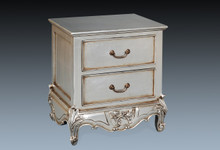 French Chateau Side Table, 2 drawer Silver Leaf