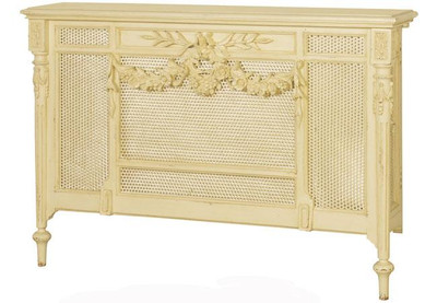 A beautiful French radiator cover shown in Chateau Cream.  This piece can also be ordered custom sizes.