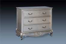 French Carved 3 Drawer Chest.....Silver Leaf