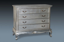French Country 4 Drawer Chest....Silver Leaf